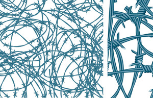 Barbed Wires. Vector Seamless Pattern.