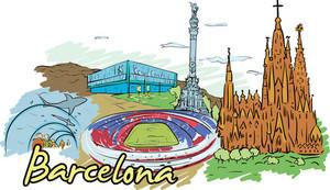 Barcelona Vector Doodle