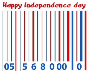 Barcode Greeting Us 4th Of July Independence Day Vector Design
