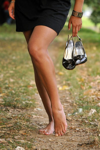 Bare foot woman walk outdoor