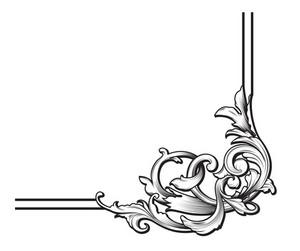 Baroque Floral Element Vector Illustration