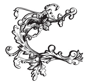 Baroque Floral Element Vector Illustration