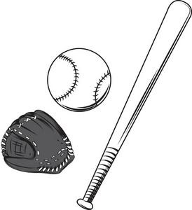 Baseball Bat Vector Element With Ball