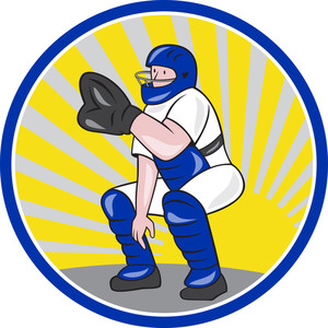 Baseball Catcher Catching Side Circle