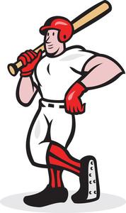 Baseball Hitter Bat Shoulder Cartoon