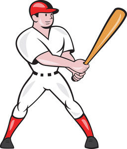 Baseball Hitter Batting Isolated Cartoon