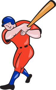 Baseball Hitter Batting Red Isolated Cartoon
