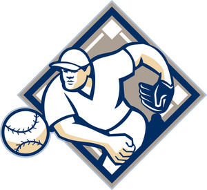 Baseball Pitcher Throwing Ball Diamond