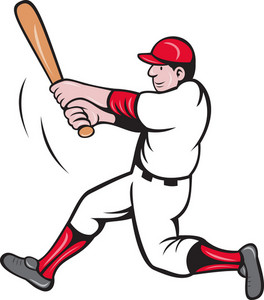 Baseball Player Batting Cartoon Style