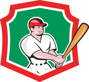 Baseball Player Batting Crest Cartoon