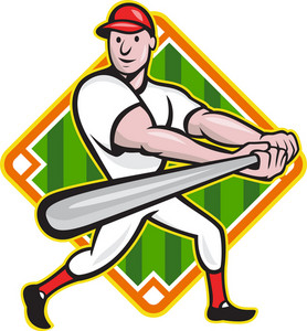 Baseball Player Batting Diamond Cartoon