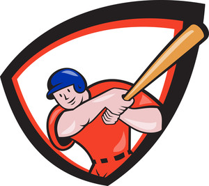 Baseball Player Batting Front Shield Cartoon