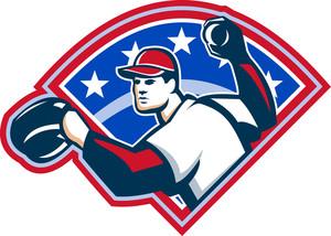 Baseball Player Throwing Ball Retro