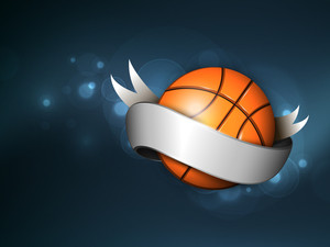 Basket Ball Wrapped In Silver Ribbon On Shiny Blue Background.