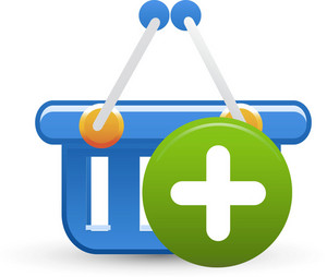 Basket Blue Add Lite Ecommerce Icon