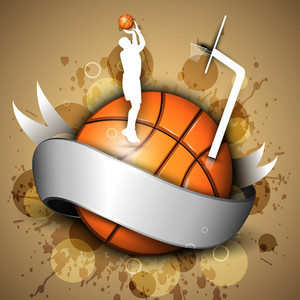 Basketball Icon Or Element With A Shiny Ribbon