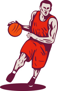 Basketball Player Dribbling Ball Retro