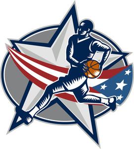 Basketball Player Fast Break Lay-up Woodcut