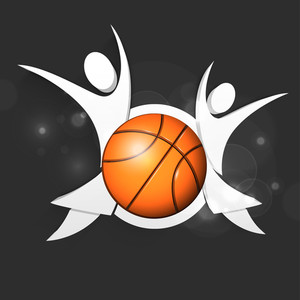 Basketball With Silhouette Of Happy Peoples On Grey Background.