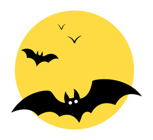 Bats Flying In Sky - Moon - Halloween Vector Illustration