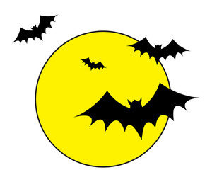Bats Flying In The Moon Lights