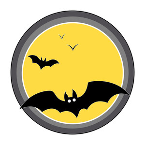 Bats Flying Over Full Moon - Halloween Vector Illustration