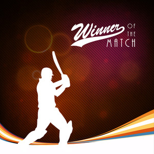 Batsman Player In Batting Action On Waves Background With Stylish Text Winner Of The Match