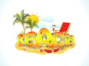 Beach 3d Text Vector Illustration