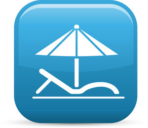 Beach Chair And Umbrella Elements Glossy Icon