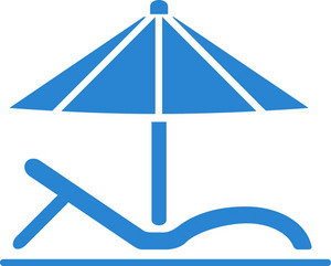 Beach Chair And Umbrella Simplicity Icon