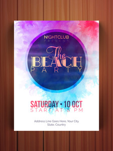 Beach Party celebration flyer banner or template with colorful splash