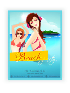 Beach party template banner or flyer design with young modern girls.