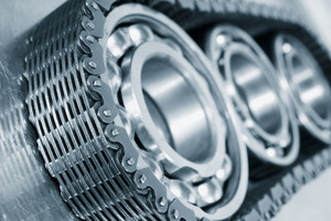 bearings, gears and cogs in close-ups