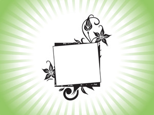 Beautiful Abstract Frame With Floral Elements On Green Background