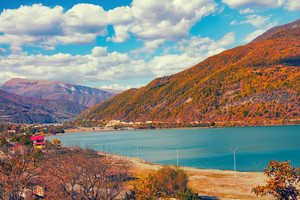Beautiful autumn panoramic view of Zhinvali reservoir in Georgia country