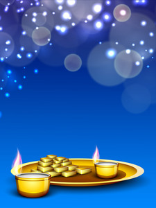 Beautiful  Background For Hindu Community Festival Diwali Or Deepawali In India.