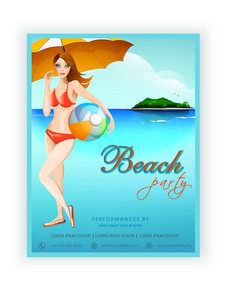 Beautiful Beach Party template banner or flyer design with young modern girl standing at sea side.