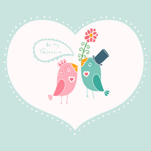Beautiful Birds In Love.illustration Of Cartoon Birds On Branch