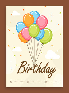 Beautiful Birthday celebration invitation card or greeting card design with colorful balloons.