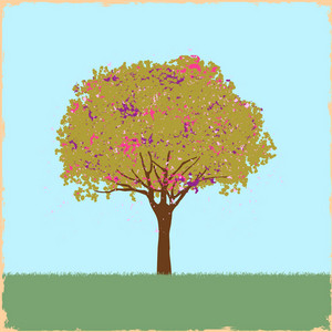 Beautiful Blot Tree In Retro Style
