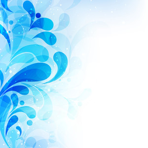Beautiful Blue Floral Design Made With Water Waves On Shiny Background