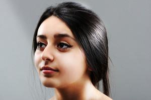 Beautiful brunette girl face