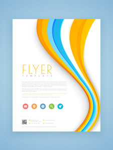Beautiful business flyer template or brochure design decorated with colorful waves.