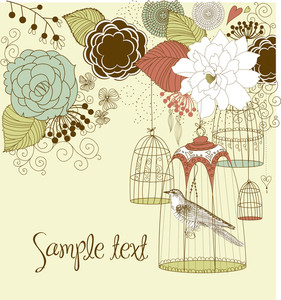 Beautiful Card With A Bird In The Cage