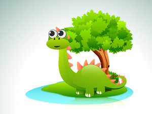 Beautiful Cartoon Of Dinosaurs On Nature Background.