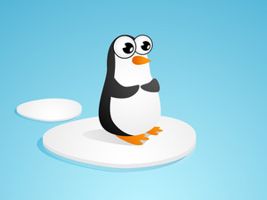 Beautiful Cartoon Of Penguine On Blue Background.