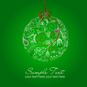 Beautiful Christmas Ball Illustration. Christmas Card-