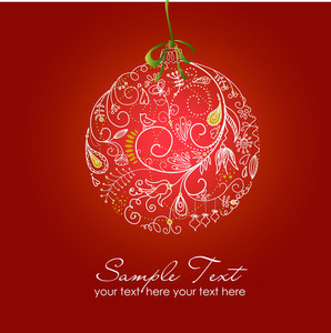 Beautiful Christmas Ball Illustration. Christmas Card