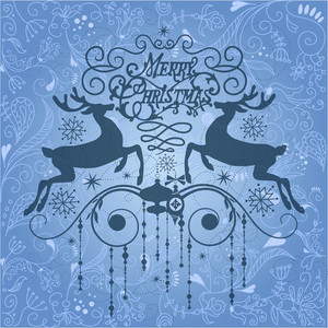 Beautiful Christmas Card With Two Deers