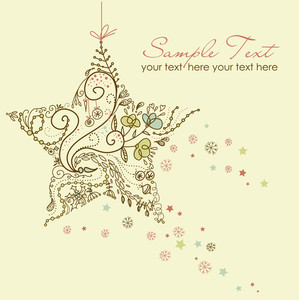 Beautiful Christmas Star Illustration. Christmas Card